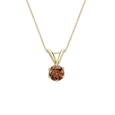 18k Yellow Gold 6-Prong Basket Certified Round-cut Brown Diamond Solitaire Pendant 0.25 ct. tw. (SI1-SI2)