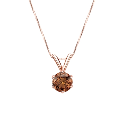 14k Rose Gold 6-Prong Basket Certified Round-cut Brown Diamond Solitaire Pendant 0.38 ct. tw. (SI1-SI2)