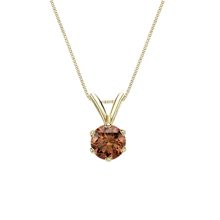 18k Yellow Gold 6-Prong Basket Certified Round-cut Brown Diamond Solitaire Pendant 0.38 ct. tw. (SI1-SI2)