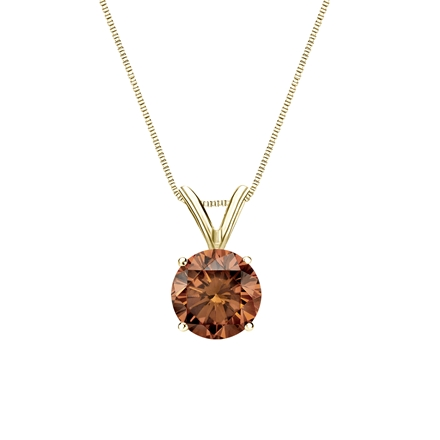 14k Yellow Gold 4-Prong Basket Certified Round-cut Brown Diamond Solitaire Pendant 0.75 ct. tw. (SI1-SI2)