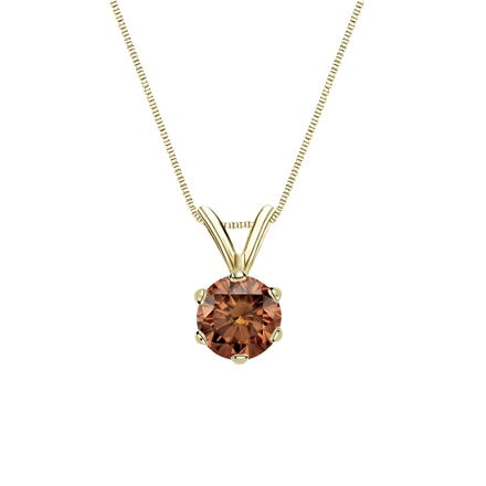 18k Yellow Gold 6-Prong Basket Certified Round-cut Brown Diamond Solitaire Pendant 0.75 ct. tw. (SI1-SI2)