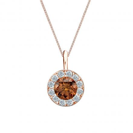 14k Rose Gold Halo Certified Round-cut Brown Diamond Solitaire Pendant 0.75 ct. tw. (SI1-SI2)