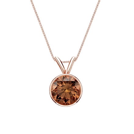 14k Rose Gold Bezel Certified Round-cut Brown Diamond Solitaire Pendant 1.00 ct. tw. (SI1-SI2)