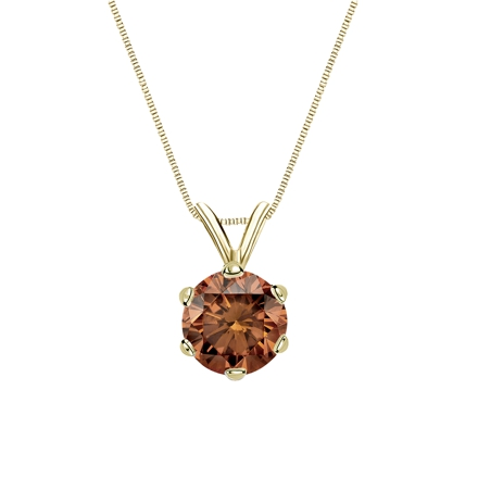 18k Yellow Gold 6-Prong Basket Certified Round-cut Brown Diamond Solitaire Pendant 1.00 ct. tw. (SI1-SI2)