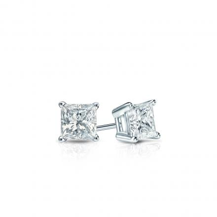 Certified 14k White Gold 4-Prong Basket Princess-Cut Diamond Stud Earrings 0.25 ct. tw. (G-H, SI1)