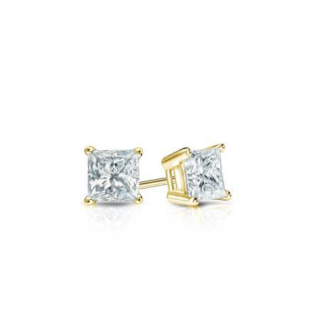 Certified 14k Yellow Gold 4-Prong Basket Princess-Cut Diamond Stud Earrings 0.25 ct. tw. (I-J, I1-I2)