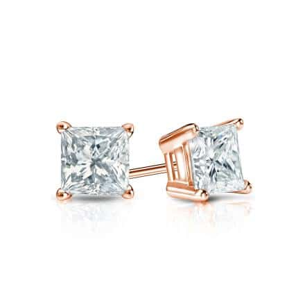 Certified 14k Rose Gold 4-Prong Basket Princess-Cut Diamond Stud Earrings 0.50 ct. tw. (I-J, I1-I2)