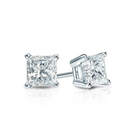 Certified 14k White Gold 4-Prong Basket Princess-Cut Diamond Stud Earrings 0.50 ct. tw. (I-J, VS1-VS2)