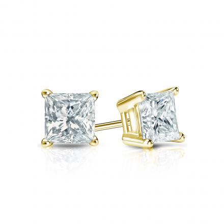 Certified 14k Yellow Gold 4-Prong Basket Princess-Cut Diamond Stud Earrings 0.50 ct. tw. (I-J, I1-I2)