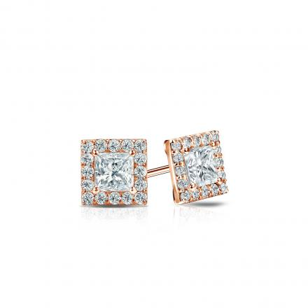 Certified 14k Rose Gold Halo Princess-Cut Diamond Stud Earrings 0.50 ct. tw. (I-J, I1-I2)