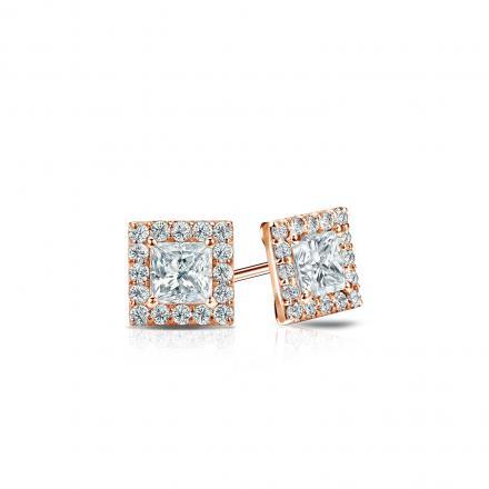 Certified 14k Rose Gold Halo Princess-Cut Diamond Stud Earrings 0.50 ct. tw. (I-J, I1)
