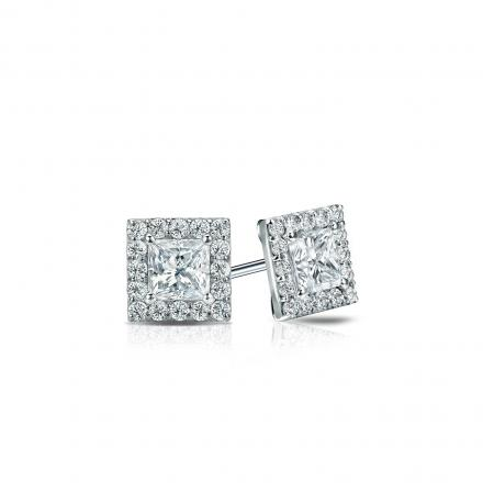 Certified Platinum Halo Princess-Cut Diamond Stud Earrings 0.50 ct. tw. (I-J, I1-I2)