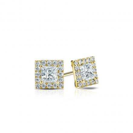 Certified 14k Yellow Gold Halo Princess-Cut Diamond Stud Earrings 0.50 ct. tw. (I-J, I1-I2)