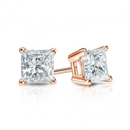Certified 14k Rose Gold 4-Prong Basket Princess-Cut Diamond Stud Earrings 0.75 ct. tw. (I-J, I1-I2)