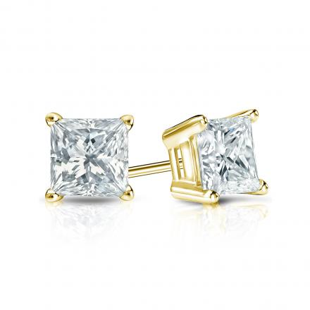 Certified 14k Yellow Gold 4-Prong Basket Princess-Cut Diamond Stud Earrings 0.75 ct. tw. (I-J, VS1-VS2)
