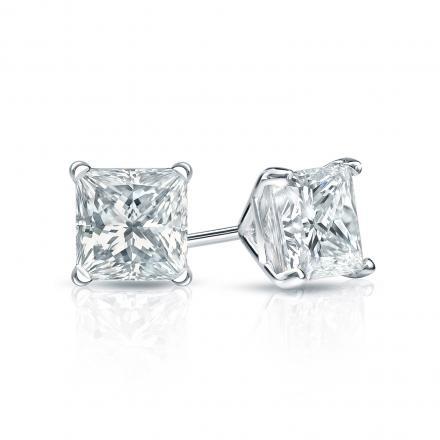 Certified 14k White Gold 4-Prong Martini Princess-Cut Diamond Stud Earrings 0.75 ct. tw. (I-J, I1-I2)