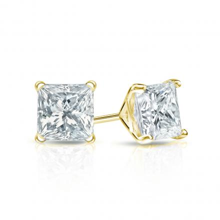Certified 18k Yellow Gold 4 Prong Martini Princess Cut Diamond Stud Earrings 0 75 Ct Tw H I Si2 Diamondstuds Com