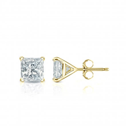 Details about  /3CT Princess Cut Classic Studs Natural Onyx 18k Pink Gold Earrings Push Back