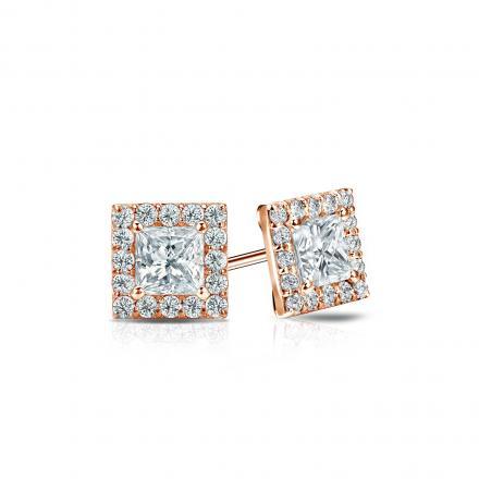 Certified 14k Rose Gold Halo Princess-Cut Diamond Stud Earrings 0.75 ct. tw. (I-J, I1-I2)
