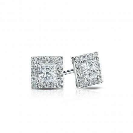 Certified Platinum Halo Princess-Cut Diamond Stud Earrings 0.75 ct. tw. (I-J, I1-I2)