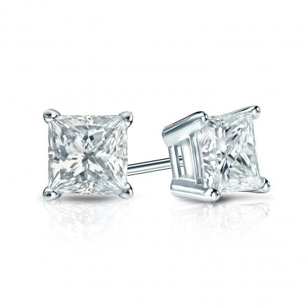 Certified 14k White Gold 4-Prong Basket Princess-Cut Diamond Stud Earrings 1.75 ct. tw. (I-J, VS1-VS2)