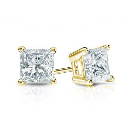 Certified 14k Yellow Gold 4-Prong Basket Princess-Cut Diamond Stud Earrings 1.00 ct. tw. (I-J, I1-I2)