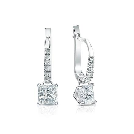 Certified Platinum Dangle Studs 4-Prong Martini Princess-Cut Diamond Earrings 1.00 ct. tw. (H-I, SI1-SI2)