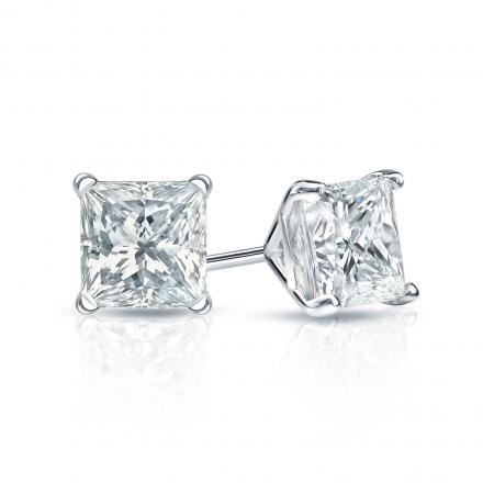 Certified 14k White Gold 4-Prong Martini Princess-Cut Diamond Stud Earrings 1.75 ct. tw. (I-J, VS1-VS2)