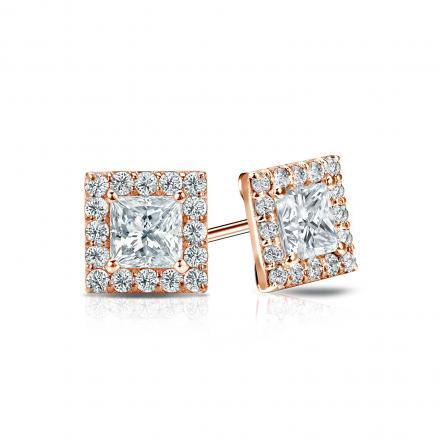 Certified 14k Rose Gold Halo Princess-Cut Diamond Stud Earrings 1.00 ct. tw. (I-J, I1-I2)