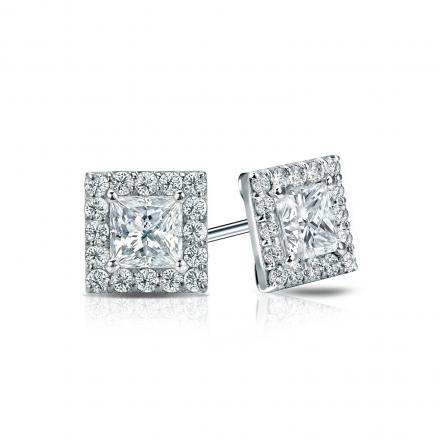 Certified Platinum Halo Princess-Cut Diamond Stud Earrings 1.00 ct. tw. (I-J, I1-I2)