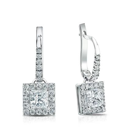 Certified 14k White Gold Dangle Studs Halo Princess-Cut Diamond Earrings 1.00 ct. tw. (I-J, I1-I2)