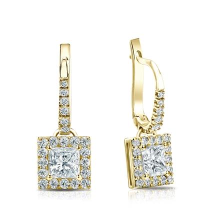 Certified 18k Yellow Gold Dangle Studs Halo Princess-Cut Diamond Earrings 1.00 ct. tw. (H-I, SI1-SI2)