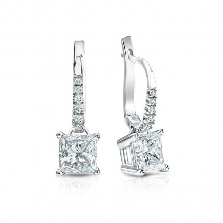 Certified 14k White Gold Dangle Studs 4-Prong Basket Princess-Cut Diamond Earrings 1.50 ct. tw. (I-J, I1-I2)