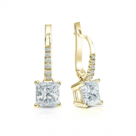 Certified 14k Yellow Gold Dangle Studs 4-Prong Basket Princess-Cut Diamond Earrings 1.50 ct. tw. (I-J, I1-I2)