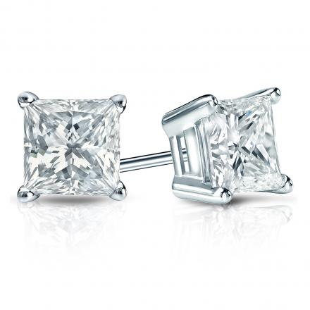 Certified 14k White Gold 4-Prong Basket Princess-Cut Diamond Stud Earrings 1.50 ct. tw. (I-J, VS1-VS2)