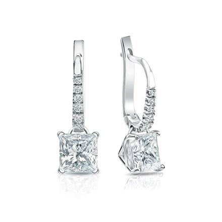 Certified Platinum Dangle Studs 4-Prong Martini Princess-Cut Diamond Earrings 1.50 ct. tw. (H-I, SI1-SI2)
