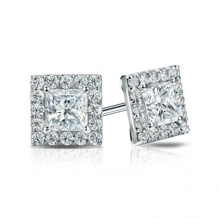 Certified 14k White Gold Halo Princess-Cut Diamond Stud Earrings 1.50 ct. tw. (G-H, VS1-VS2)