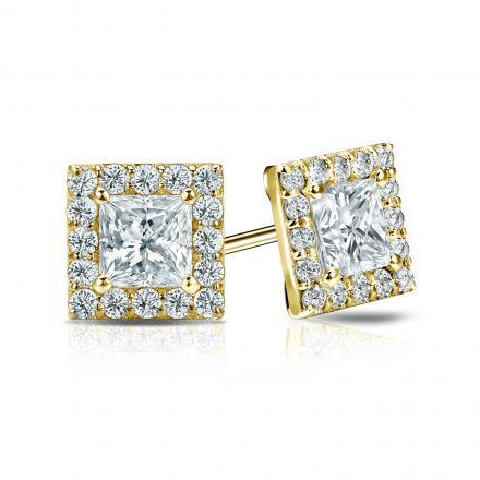 Certified 14k Yellow Gold Halo Princess-Cut Diamond Stud Earrings 1.50 ct. tw. (I-J, I1-I2)