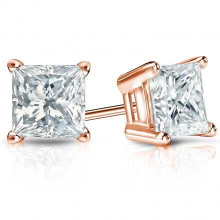 Certified 14k Rose Gold 4-Prong Basket Princess-Cut Diamond Stud Earrings 2.00 ct. tw. (I-J, I1-I2)
