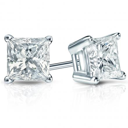 Certified 18k White Gold 4-Prong Basket Princess-Cut Diamond Stud Earrings 2.00 ct. tw. (I-J, I1-I2)