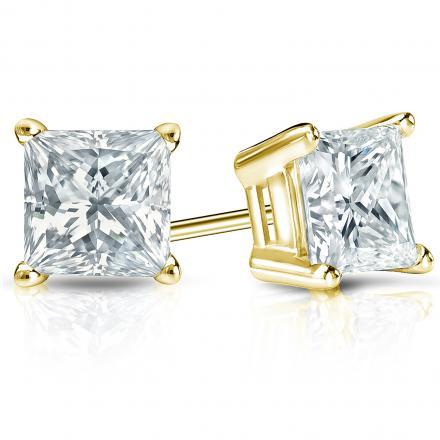 Certified 14k Yellow Gold 4-Prong Basket Princess-Cut Diamond Stud Earrings 2.00 ct. tw. (I-J, I1-I2)