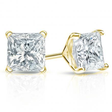 Certified 18k Yellow Gold 4-Prong Martini Princess-Cut Diamond Stud Earrings 3.00 ct. tw. (I-J, I1-I2)
