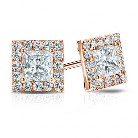 Certified 14k Rose Gold Halo Princess-Cut Diamond Stud Earrings 2.50 ct. tw. (I-J, I1)