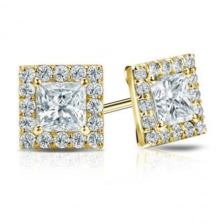 Certified 14k Yellow Gold Halo Princess-Cut Diamond Stud Earrings 2.50 ct. tw. (I-J, I1-I2)