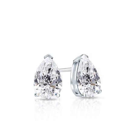 Certified 14k White Gold V-End Prong Pear Shape Diamond Stud Earrings 0.50 ct. tw. (G-H, SI1)
