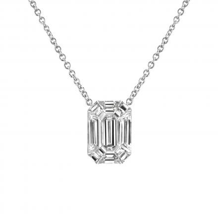 Emerald Cut Diamond Pendant 0.50 ct. tw. (E-F, VS1-VS2) in 14k White Gold Invisible Set