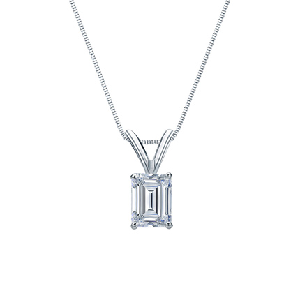Lab Grown Diamond Solitaire Pendant Emerald 0.50 ct. tw. (E-F, VS1-VS2) in 14k White Gold 4-Prong