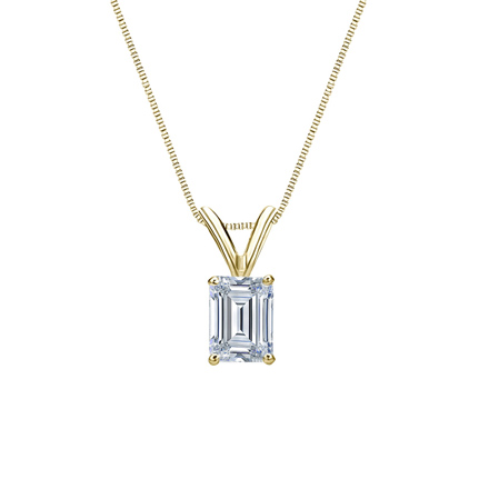 14k Yellow Gold 4-Prong Basket Certified Emerald-Cut Diamond Solitaire Pendant 0.50 ct. tw. (H-I, SI1-SI2)