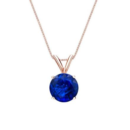Certified 14k Rose Gold 4-Prong Basket Round Blue Sapphire Gemstone Solitaire Pendant 0.75 ct. tw. (Blue, AAA)