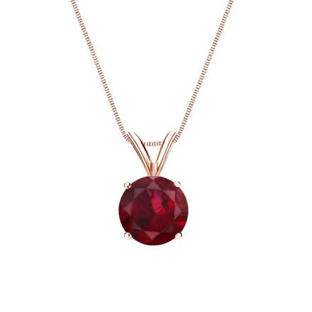 Certified 14k Rose Gold 4-Prong Basket Round Ruby Gemstone Solitaire Pendant 0.25 ct. tw. (Red, AAA)